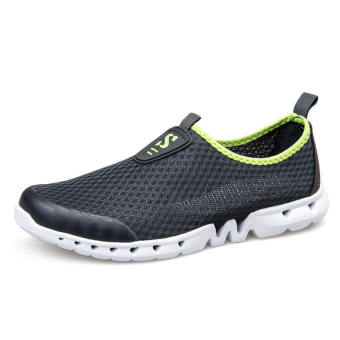 Men Breathable Mesh Low Cut Sneakers-Dark Grey