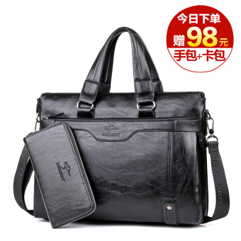 Men business men's handbag men's bag (Cross black (to send handbag + card holder))