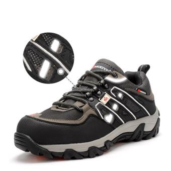 men casual breathable steel toe caps work safety shoes plate solenon-slip outdoors climb hiking tooling ankle boots platform - intl - 3