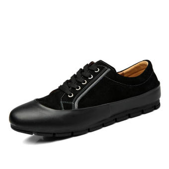 Men Casual Fashion Leather Brogues Lace-Ups Flat Shoes-Black