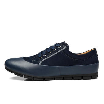 Men Casual Fashion Leather Brogues Lace-Ups Flat Shoes-Dark Blue