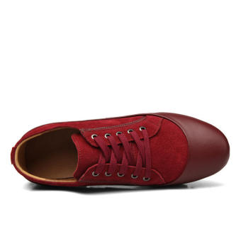 Men Casual Fashion Leather Brogues Lace-Ups Flat Shoes--Red - picture 2