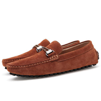 Men Casual Leather Driving Loafers - Brown - picture 4