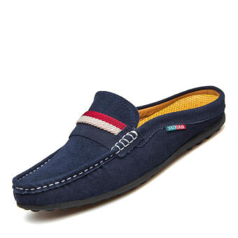 Men Casual Leather Driving Shoes - Blue