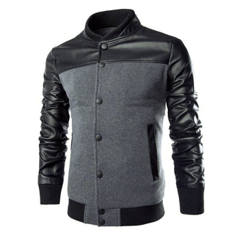 Men Casual Leather Sleeves Jacket (Grey)