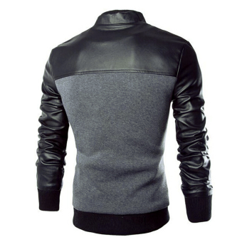 Men Casual Leather Sleeves Jacket (Grey) - 4
