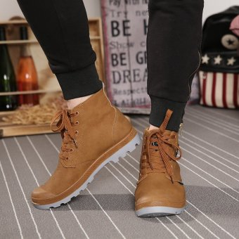 Men Casual Martin Boots Ankle Boots High-Cut Sneakers(Brown) - intl - 2