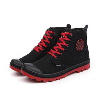 Men Casual Martin Boots Ankle Boots High-CutSneakers(Black&red) - intl