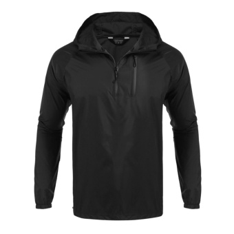Men Casual Outdoor Waterproof Hooded Raincoat Poncho Jacket Black - intl