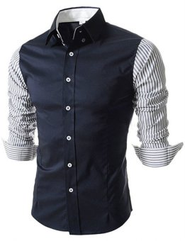Men Casual Shirt Striped Splicing Long Sleeve Tops Dark Blue - picture 2