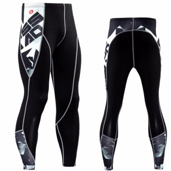 Men Compression Sets Pants and Short Sleeve T Shirts 3D Print LycraJoggers Tights Tops Leggings Fitness Brand Clothing MMA(Letterwhite set) - intl - 5