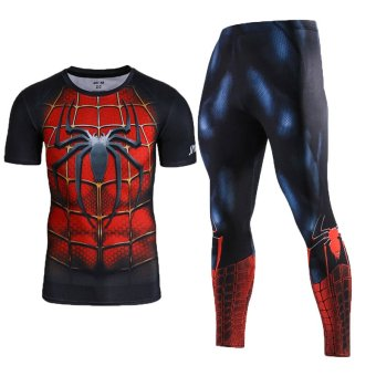 Men Compression Shirt Men 3D Printed Pattern Superman WorkoutCompression Tights Gym Fitness TShirt Pants Quick DrySets(Spiderman) - intl