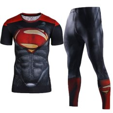 Men Compression Shirt Men 3D Printed Pattern Superman WorkoutCompression Tights Gym Fitness TShirt Pants Quick DrySets