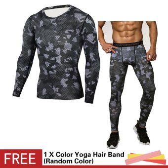 Men Compression Sports Suit Camouflage Print Elastic Tights Skins Base Layers T Shirt+Quick Dry Gym Training Fitness Running Pants Set - intl