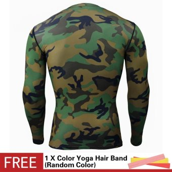 Men Compression Sports Suit Camouflage Print Elastic Tights Skins Base Layers T Shirt+Quick Dry Gym Training Fitness Running Pants Set - intl - 3