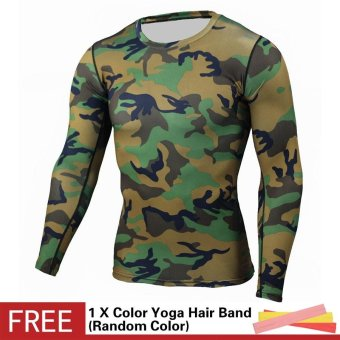 Men Compression Sports Suit Camouflage Print Elastic Tights Skins Base Layers T Shirt+Quick Dry Gym Training Fitness Running Pants Set - intl - 2
