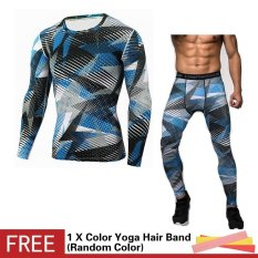 Men Compression Sports Suit Camouflage Print Elastic Tights SkinsBase Layers T Shirt+Quick Dry Gym