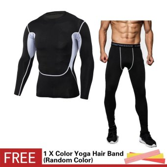 Men Compression Sports Suit Camouflage Print Elastic Tights SkinsBase Layers T Shirt+Quick Dry Gym Training Fitness Running PantsSet - intl