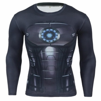 Men Compression Tight T-shirt Long Sleeves Prints Base Layer(Type 19) - intl