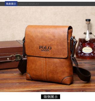 Men Cowhide Leather Crossbody Bag Shoulder Bag Messenger Bag Portable Briefcase Business Casual Tote Bag(Khaki) - 2