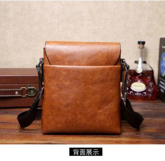 Men Cowhide Leather Crossbody Bag Shoulder Bag Messenger Bag Portable Briefcase Business Casual Tote Bag(Khaki) - 4
