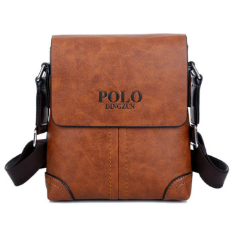 Men Cowhide Leather Crossbody Bag Shoulder Bag Messenger Bag Portable Briefcase Business Casual Tote Bag(Khaki)