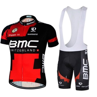 Men Cycling Jersey and Bib Shorts Set Quick Dry Gel Padded Clothing- intl