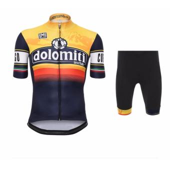 Men Cycling Jersey and Non Bib Shorts Set Quick Dry Gel Padded Clothing-FNM (Dolomiti)