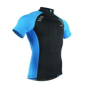 Men Cycling Jersey Set Short Sleeve Suit Bike Bicycle T ShirtsShorts Gel Padded Summer - Blue - 2