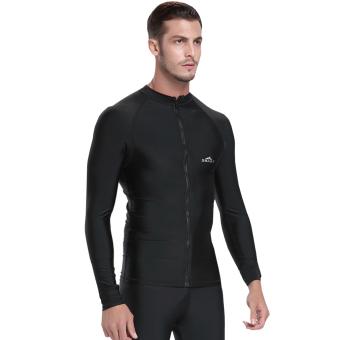 Men Diving Snorkeling Wetsuit Swim Shirts Tops Long Sleeve Rash Guard Surf Shirt Swimwear - Black - 3