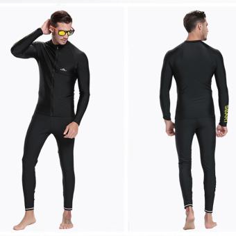 Men Diving Snorkeling Wetsuit Swim Shirts Tops Long Sleeve Rash Guard Surf Shirt Swimwear - Black - 2