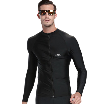 Men Diving Snorkeling Wetsuit Swim Shirts Tops Long Sleeve Rash Guard Surf Shirt Swimwear - Black