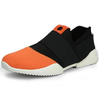 Men Fashion Bicolor Low Cut Sneakers-Black