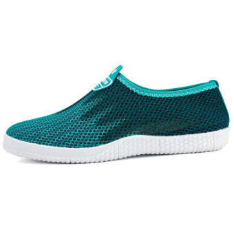 Men Fashion Breathable Mesh Sport Bicolor Low Cut Sneakers-Sky Blue - picture 2