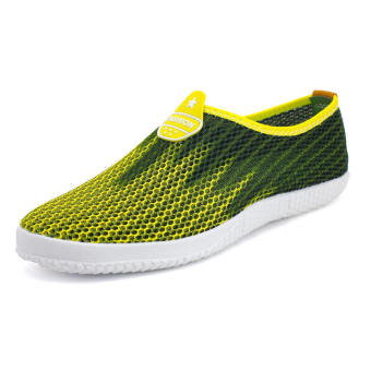 Men Fashion Breathable Mesh Sport Bicolor Low Cut Sneakers-Yellow