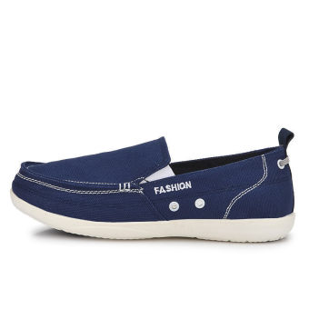 Men Fashion Canvas Flat Loafers Shoes – Dark Blue - picture 2