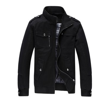 Men Fashion Cotton Jacket Windproof Winter Coat(Black) - intl