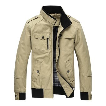 Men Fashion Cotton Jacket Windproof Winter Coat(Khaki) - intl