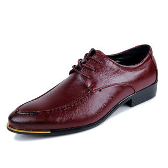 Men Fashion Formal Lace-ups Men Leather Shoes (RED) - Intl