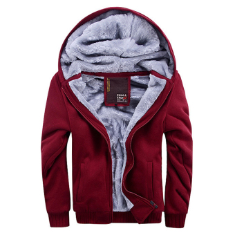 Men Fashion Hooded Thick Thermal Plus Size Winter Jackets(Red) -intl