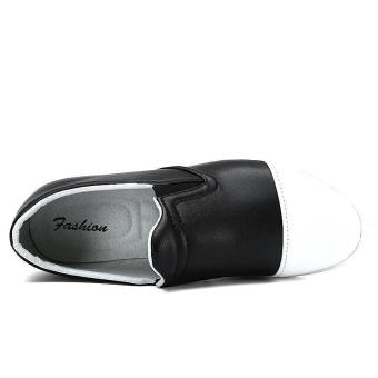 Men Fashion Leather Loafers - Black and White - picture 2