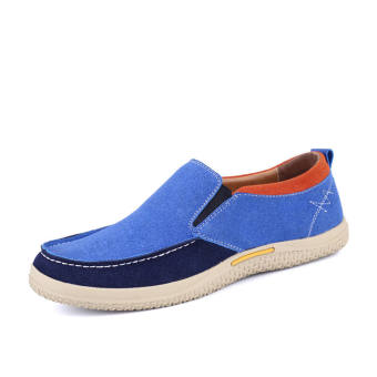 Men Fashion Leather Loafers Car Shoes - Light Blue