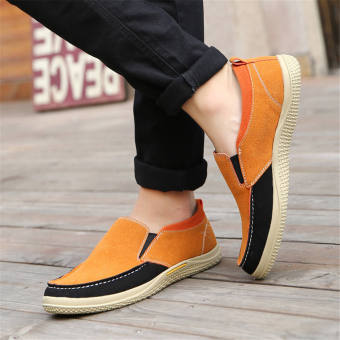 Men Fashion Leather Loafers Car Shoes -Yellow - picture 3