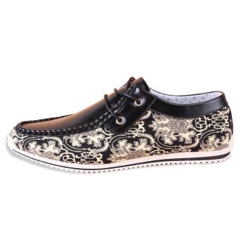 Men Fashion Pattern Lace-Ups Flat Shoes- Black
