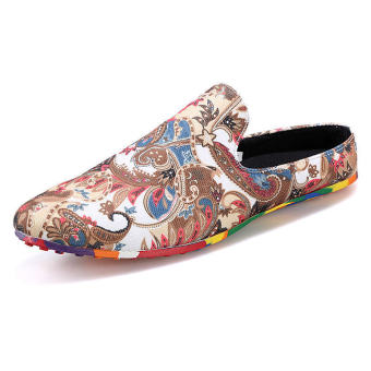 Men Fashion Printed Fabrics Semi-slipper - Red