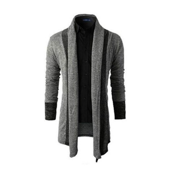 Men Fashion Pure Color Wool Cardigan Sweater(Lightgrey) - intl