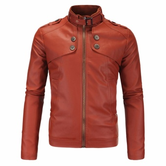Men Fashion Solid PU Leather Motorcycle Jackets(Brown) - intl
