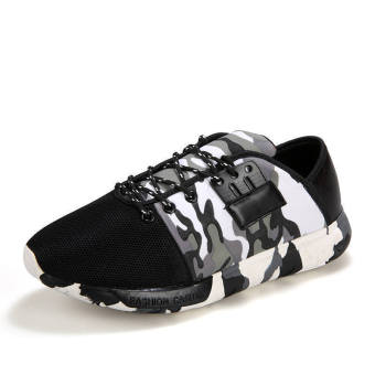 Men Fashion Trend Camouflage Low Cut Sneakers-White - picture 2