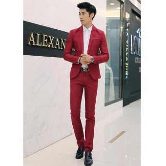 Men Formal Wedding Bridegroom Suit One Button Slim Fit JacketTuxedos Coat Pants - intl - 3