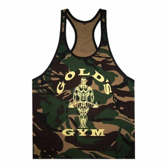 Men Gym Clothing Singlets Camouflage Tank Tops Shirt Bodybuilding Equipment Fitness - intl